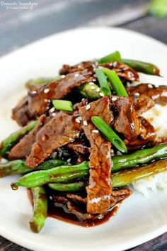 Quick and delicious dinner for the whole family. Serve with rice, noodles, or even potatoes.   Chinese Beef & Green Beans recipe by Allison Zea at Today's Creative Life