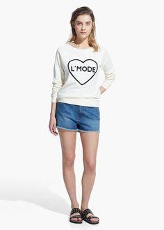 Sweatshirt mit pailletten-schrift - Sweatshirts für Damen | OUTLET Österreich