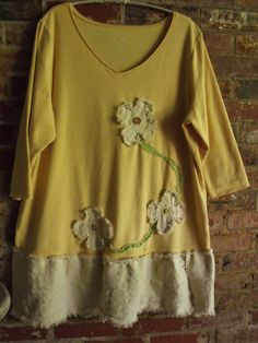 Plus Size TunicDress Creamy Yellow Natural Fringey by SheerFab, $52.00