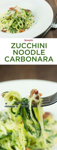 This Zucchini Noodle Carbonara recipe combines zucchini noodles with a classic carbonara recipe for an irresistibly low-carb, fiber-filled meal your family will love. #cleaneating #recipes