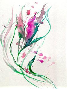 Original Abstract Watercolor Painting - LanasArt - Color Me Pretty Pink (Lana Moes - Etsy)<3<3<3
