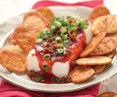 Raspberry Sriracha Cream Cheese Dip Recipe │Cream cheese and raspberry sriracha spread garnished with crumbled bacon and chopped green onions. All U Can Eat, Vegetarian Freezer Meals, Tastefully Simple Recipes, Cream Cheese Dips, Oven Fried Chicken, Easy Pasta Salad, Fries In The Oven, Recipe Search, Top Recipes