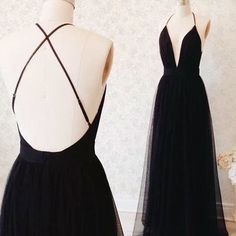 Formal black tulle open back v neck long prom dress 2016,evening dress,fs117