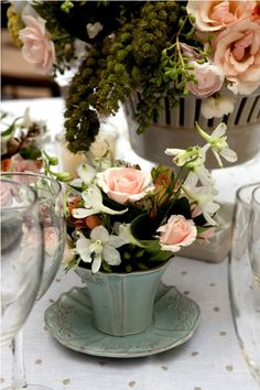 Tea Cups of flowers - maybe for the rehearsal dinner?
