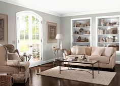 Graceful Gray behr...the color for living and dining rooms with simply white trim and wainscoting