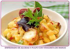 Empedrado de Alubias y Pulpo con Vinagreta de Mango (con video-receta)