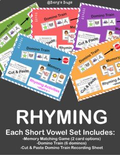 This bundle includes all vowels: 76 picture cards that can be sorted or used to play Memory. Choose between cards with pictures or cards with pictures & words. One domino train activity that uses 6 dominos for each vowel. Connect the dominos by matching rhyming sounds.