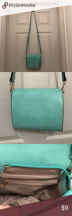 Turquoise Evening Bag Cute Tiffany-blue handbag with gold tone tassel accent. Just big enough for a phone, wallet and keys. The adjustable strap may be removed to carry as a clutch. unmarked Bags Shoulder Bags