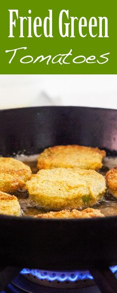 Traditional fried green tomatoes! Sliced firm green tomatoes, dipped in egg and coated with flour, cornmeal and bread crumbs, fried and seasoned with salt and pepper.