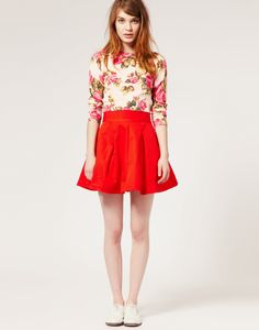 Red skirt + brogues = adorable