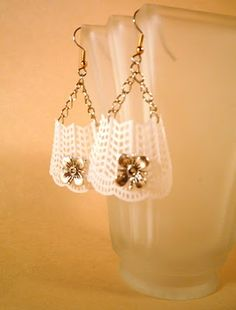 Badminton - Lacy Earrings, upcycled from badminton birdies.