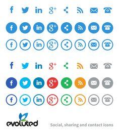 Free Social Media, Share & Contact Icons