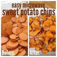 easy, microwave homemade sweet potato chips