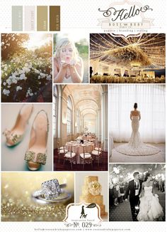 Gold glitter white roses barn wedding inspiration hint of mint colour board.