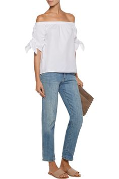 352e6a006dda5 W118 by Walter BakerBrielle off-the-shoulder cotton-poplin top Designer  Clothes Sale