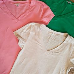 Sale!Vneck bundle, perfect for layering These have each been worn once, if that. They have no Rips stains or tears. Smoke free pet free home  These are a juniors large. Where w your favorite jeans, under a cardigan, shorts and sandals, a must have for every closet Tops Tees - Short Sleeve