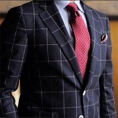 This windowpane flannel (in navy or grey) has been very popular this season.