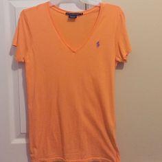 Ralph Lauren Sport Polo V neck orange with purple symbol, good condition Ralph Lauren Tops Tees - Short Sleeve