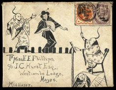 Hand Illustrated and Later Printed Envelopes: 1895 Oct. 14, a most unusual pen and ink illustrated envelope on 'jean' (cotton cloth) with extremely well executed illustrations of Japanese theatrical figures on the front and further Japanese themes on reverse, sent from Notting Hill to Hayes with enclosed pictogram letter (also on jean) 'I am not mad but just writing to thank you for the jean & send you a specimen of work done on it with pen hence this peculiar envelope and paper'. Photo.