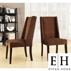@Overstock - Beautiful and eye-catching chenille fabric upholsters this set of two wingback chairs. These beautiful chairs are finished with durable rubberwood legs with an espresso finish. http://www.overstock.com/Home-Garden/ETHAN-HOME-Ian-Chocolate-Wingback-Chairs-Set-of-2/7295825/product.html?CID=214117 $280.99