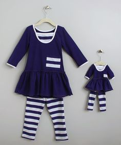 Love this Deep Purple Victoria Tunic Set & Doll Outfit - Toddler & Girls on #zulily! #zulilyfinds
