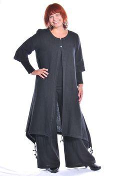 Bryn Walker Heavy Weight Linen Katherine Jacket Long Duster s M L XL Black | eBay
