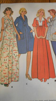 Retro Mod Maternity Pattern from 1975.  Looking for that unique retro design?  This pattern has never been used.  Maternity dress with different views and Mod Wide Legged Maternity pants...10.00