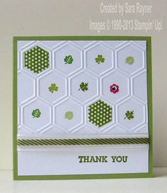 Honeycomb and Itty Bitties thank you cards - Stampin' Up! Use with any occasion - St.Patrick - Valentines - Christmas etc