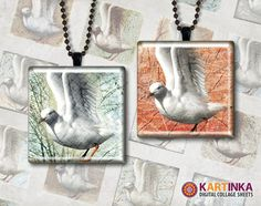 SEAGULL  1x1 inch   Digital Collage Sheet  by KARTINKAshop on Etsy, $3.50