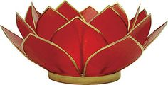 Red 3-Layer Capiz Lotus Candle Holder (gold edged)
