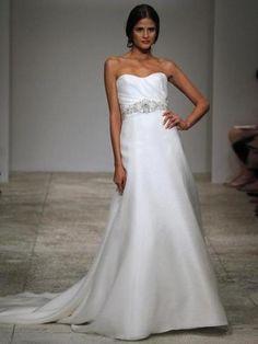 Beautiful rouched bodice + crystal sash #usedweddingdress avail. on Hustle Your Bustle