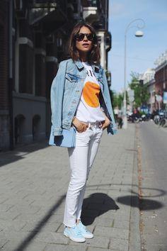 'orange' sweater   Céline trio bag   jean jacket   Lizzy van der Ligt