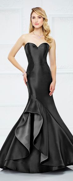 Strapless Mikado trumpet gown with sweetheart neckline, dramatic asymmetrical ruffle on lower skirt reveals contrasting lining, sweep train. Matching shawl (shown wrapped around shoulders) and detachable straps included.