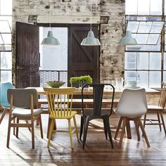 Surprising Useful Ideas: Rustic Dining Furniture Cabinets dining furniture makeover how to paint. Mixed Dining Chairs, Mismatched Dining Chairs, Table And Chairs, Coloured Dining Chairs, Kitchen Table Chairs, White Chairs, Dining Tables, Side Tables, Coffee Tables