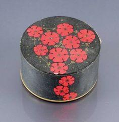 «Le Bonheur Existe» - (années 1920) - boite de poudre cylindrique - décor floral