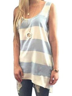 Shop White And Blue Stripe Hi-lo Vest from choies.com .Free shipping Worldwide.$11.99