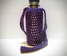Purple Water Bottle Holder  Crochet Bottle Cozy by MadebyJody666