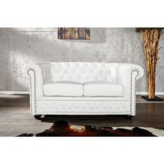 Moderne chesterfield Sofa mat wit - 12547