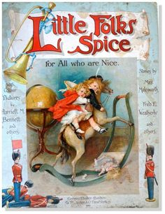 "Harriett Mary Bennett - English - vintage book ""Little Folks Spice"". Cover picture has the initial SL."