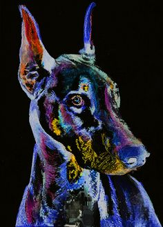 Doberman Dog Painting abstract Purple black, Doberman painting Print , watercolor art print Art Dobie gift idea doberman art print idea choice of sizes.  This colorful Doberman dog is full of character and sure to brighten up any wall you choose to hang it on. Choice of sizes to fit many popular mounts and frames.  I created the original painting using watercolor, colored inks and acrylic paint and it is now available to you as a signed giclee print on quality heavy matte paper.  SIZES…