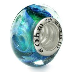 Ohm Silver Aurora Borealis Reflections Glass Bead