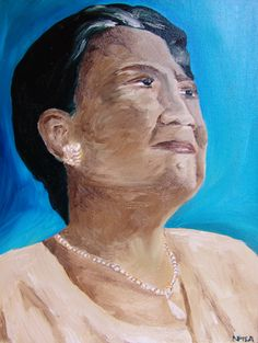 """Perenise is a 11""""x17"""" original oil on canvas. This woman was a strong foundation for her Samoan Aiga, family. The portrait shows her character, her inner strength."""