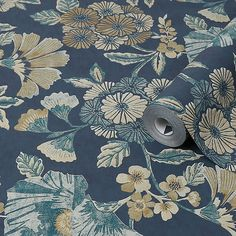 Graham & Brown Boutique Navy Floral Metallic effect Textured Wallpaper - B&Q for all your home and garden supplies and advice on all the latest DIY trends Diy Wallpaper, Textured Wallpaper, Graham Brown, Guest Bedrooms, Garden Supplies, Tapestry, Boutique, Navy, Metallic