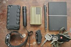 EDC gear with Pure-Minimal US Flag Wallet. Check out the Kickstarter for the wallet here: http://kck.st/16PFnY6