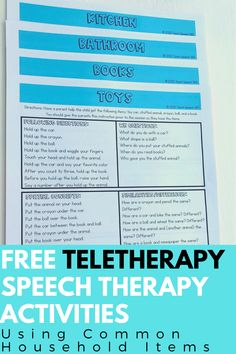 FREE Teletherapy Speech Therapy Activities Using Common Household Items – kids bathroom ideas Speech Language Therapy, Speech Language Pathology, Speech And Language, Speech Therapy Activities, Articulation Activities, Play Therapy Techniques, Speech Room, Wh Questions, Household Items