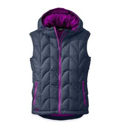 Outdoor Research Women's Aria Vest, Night/Ultraviolet, Small. Lightweight. Fully Adjustable Hood. Water Resistant.
