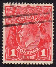 Australian King George V Penny Red stamp Rare Stamps, Old Stamps, Vintage Stamps, Stamp Values, Penny 1, Australian Painting, Australian Animals, Most Expensive, Stamp Collecting