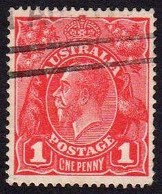 Australian King George V Penny Red stamp Old Stamps, Rare Stamps, Vintage Stamps, Stamp Values, Penny 1, Australian Painting, Australian Animals, Stamp Collecting, My Stamp