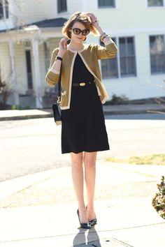Black-sheath-h-m-dress-mustard-cardigan-asos-sweater