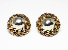 New Listings Daily - Follow Us for UpDates -  Description & Style:  Gold Tone Chain Earring Signed Hattie Carnegie - Round Dome Clip on Earrings - Twisted Wires - #Vintage 1950's 1960's #Modernist Style #Jewelry offered b... #vintage #jewelry #teamlove #etsyretwt #ecochic #modernist #thejewelseeker